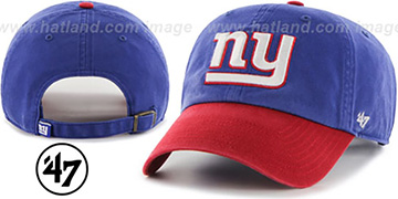NY Giants 2T 'CLEAN-UP STRAPBACK' Royal-Red Hat by Twins 47 Brand