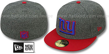 NY Giants 2T NFL MELTON-BASIC Grey-Red Fitted Hat by New Era