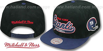 NY Giants '2T TAILSWEEPER SNAPBACK' Black-Navy Hat by Mitchell & Ness