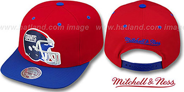 NY Giants '2T XL-HELMET SNAPBACK' Red-Royal Adjustable Hat by Mitchell & Ness