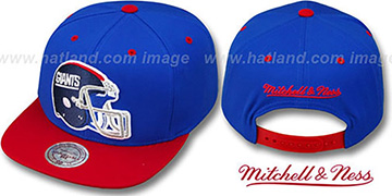NY Giants '2T XL-HELMET SNAPBACK' Royal-Red Adjustable Hat by Mitchell & Ness