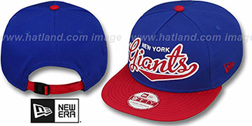 NY Giants BALLISTIC SCRIPT A-FRAME STRAPBACK Royal-Red Hat by New Era