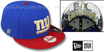 NY Giants CHAMPS-HASH SNAPBACK Royal-Red Hat by New Era