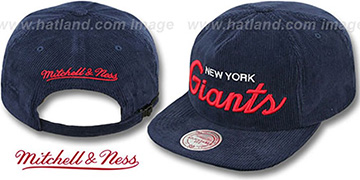 NY Giants 'CORD-SCRIPT STRAPBACK' Navy Hat by Mitchell & Ness