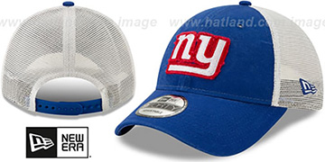 NY Giants FRAYED LOGO TRUCKER SNAPBACK Hat by New Era