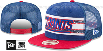 NY Giants HERITAGE-STRIPE SNAPBACK Royal-Red Hat by New Era