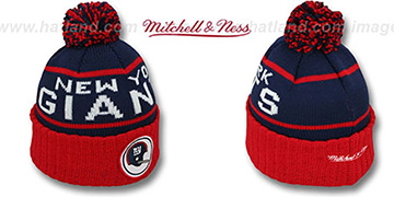 NY Giants 'HIGH-5 CIRCLE BEANIE' Navy-Red by Mitchell and Ness