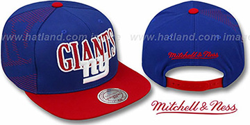 NY Giants 'LASER-STITCH SNAPBACK' Royal-Red Hat by Mitchell & Ness