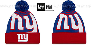 NY Giants LOGO WHIZ Royal-Red Knit Beanie Hat by New Era