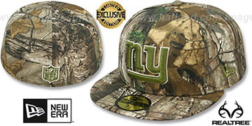 NY Giants NFL TEAM-BASIC Realtree Camo Fitted Hat by New Era