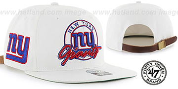 NY Giants 'NFL VIRAPIN STRAPBACK' White Hat by Twins 47 Brand