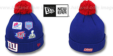 NY Giants 'SUPER BOWL PATCHES' Royal Knit Beanie Hat by New Era