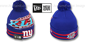 NY Giants 'SUPER BOWL XLII' Royal Knit Beanie Hat by New Era