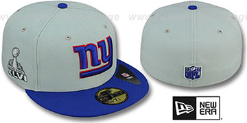 NY Giants SUPER BOWL XLVI Grey- Royal Fitted Hat by New Era
