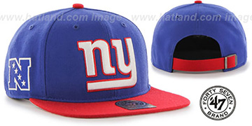 NY Giants 'SUPER-SHOT STRAPBACK' Royal-Red Hat by Twins 47 Brand
