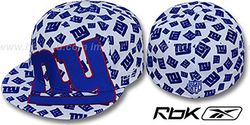 NY Giants 'SUPERSIZE FLOCKING' White Fitted Hat by Reebok