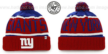 NY Giants THE-CALGARY Red-Royal Knit Beanie Hat by Twins 47 Brand