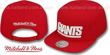 NY Giants 'THROWBACK-BASIC SNAPBACK' Red Hat by Mitchell & Ness
