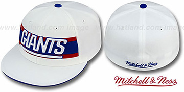 NY Giants 'THROWBACK TIMEOUT' White Fitted Hat by Mitchell & Ness