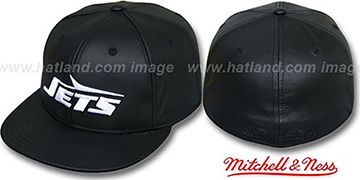 NY Jets 'LEATHER THROWBACK' Fitted Hat by Mitchell and Ness