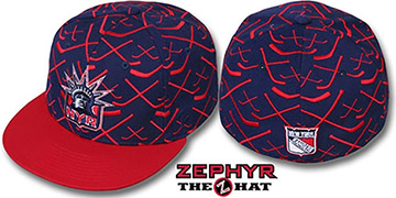 NY Rangers 2T TOP-SHELF Navy-Red Fitted Hat by Zephyr