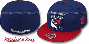NY Rangers '2T XL-LOGO' Navy-Red Fitted Hat by Mitchell & Ness
