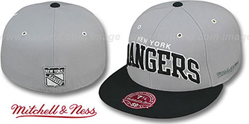 NY Rangers 2T XL-WORDMARK Grey-Black Fitted Hat by Mitchell & Ness