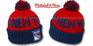 NY Rangers 'KNIT BEANIE' Red-Navy Knit Hat by Mitchell and Ness