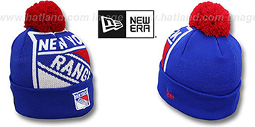 NY Rangers NHL-BIGGIE Royal Knit Beanie Hat by New Era