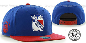 NY Rangers 'SURE-SHOT SNAPBACK' Royal-Red Hat by Twins 47 Brand