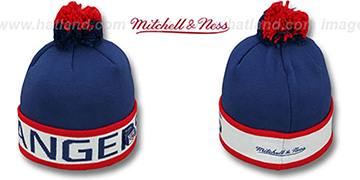 NY Rangers THE-BUTTON Knit Beanie Hat by Michell & Ness