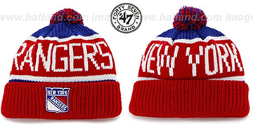 NY Rangers THE-CALGARY Red-Royal Knit Beanie Hat by Twins 47 Brand