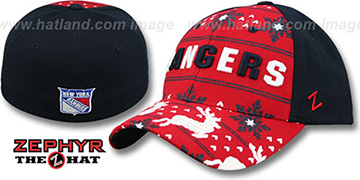 NY Rangers 'UGLY SWEATER FLEX' Navy-Red Hat by Zephyr