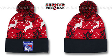 NY Rangers 'UGLY SWEATER' Navy-Red Knit Beanie Hat by Zephyr