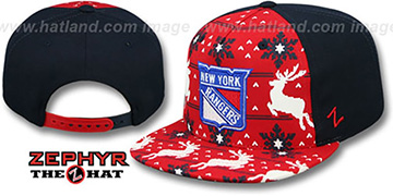 NY Rangers UGLY SWEATER SNAPBACK Navy-Red Hat by Zephyr