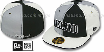 Oakland PINWHEEL-CITY Black-Grey-White Fitted Hat by New Era