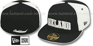Oakland 'PINWHEEL-CITY' Black-White-Black Fitted Hat by New Era
