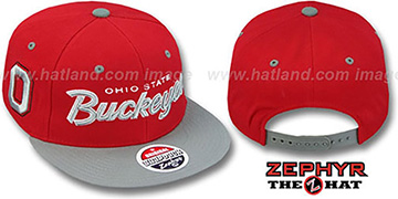 Ohio State '2T HEADLINER SNAPBACK' Red-Grey Hat by Zephyr