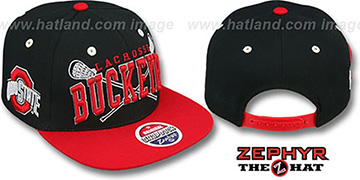 Ohio State LACROSSE SUPER-ARCH SNAPBACK Black-Red Hat by Zephyr