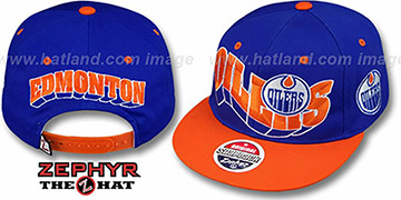 Oilers '2T FLASHBACK SNAPBACK' Royal-Orange Hat by Zephyr