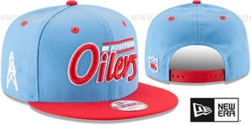 Oilers '2T RETRO-SCRIPT SNAPBACK' Sky-Red Hat by New Era