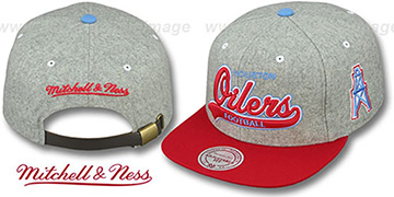 Oilers 2T TAILSWEEPER STRAPBACK Grey-Red Hat by Mitchell and Ness