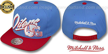 Oilers '2T VICE SNAPBACK' Sky-Red Adjustable Hat by Mitchell & Ness