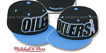 Oilers '2T WORDMARK' Black-Blue Fitted Hat by Mitchell & Ness