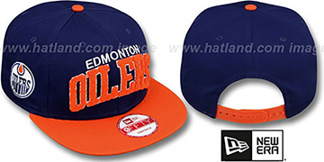 Oilers CHENILLE-ARCH SNAPBACK Navy-Orange Hat by New Era