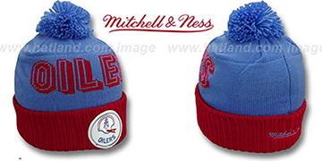 Oilers CUFF BEANIE-2 Sky-Red Knit Hat by Mitchell and Ness