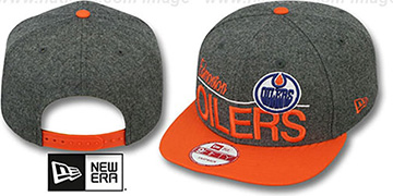 Oilers 'FLANNEL SNAPBACK' Grey-Orange Hat by New Era