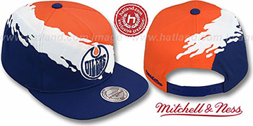 Oilers 'PAINTBRUSH SNAPBACK' Orange-White-Navy Hat by Mitchell & Ness