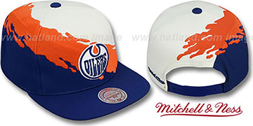 Oilers PAINTBRUSH SNAPBACK White-Orange-Navy Hat by Mitchell & Ness