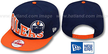 Oilers STOKED SNAPBACK Navy-Orange Hat by New Era